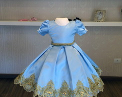 Vestido azul marinho com renda dourada