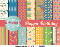 Papel Digital Scrapbook - Happy Birthday