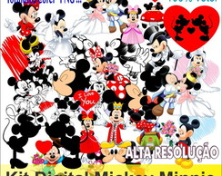 kit digital mickey minnie scrapbook vetor