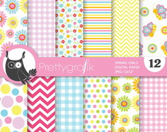 Kit Digitais Papeis Spring Owls