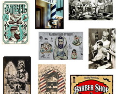 Placas Vintage Retrô Barbearia Barber Shop 25x40cm