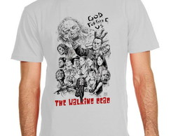 Camiseta camisa na cor cinza the walking dead