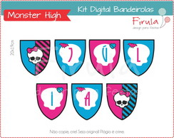 Kit Digital Bandeirolas Monster High