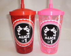 Copo com Canudo 500ml Mickey e Minnie nv mod 01