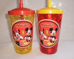 Copo com Canudo 500ml Mickey e Minnie nv mod 04