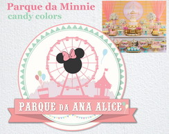 Placa Festa PARQUE da MINNIE candy colors