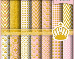 Papel Digital Princesa Rosa e Dourado