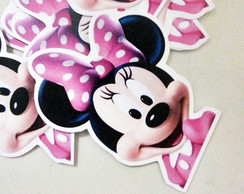 Tags ou Toppers Rosto Minnie Rosa