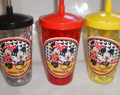 Copo Shake com Canudo de 500ml Mickey e Minnie nv mod 05