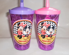 Copo com Canudo 500ml Mickey e Minnie nv mod 07