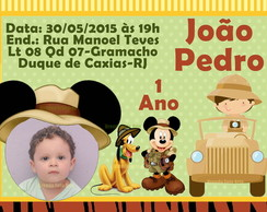 Convite Safari do Mickey Mouse