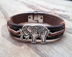 2220e0fb77 Pulseira de Couro Magnética Elefante Indiano no Elo7