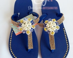 Havaianas Top Customizado Correia Modificada Strass/Pérola