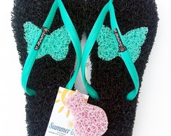 Chinelo Capacho Massageador Summer In - PRETO / VERDE ÁGUA