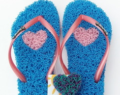 Chinelo Capacho Massageador Summer In - AZUL / ROSA BEBÊ