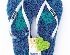 Chinelo Capacho Massageador Summer In - MESCLADO VERDE/ROXO