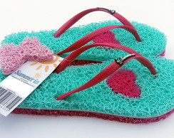 Chinelo Capacho Massageador Summer In - VERDE ÁGUA / PINK