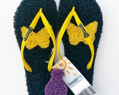 Chinelo Capacho Massageador Summer In - PRETO / AMARELO