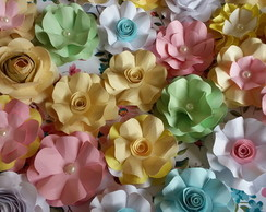 Mini flores de papel scrap luxo