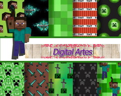 Kit Digital Papéis Minecraft