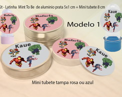 Kit Latinhas e Mini Tubetes-Vingadores