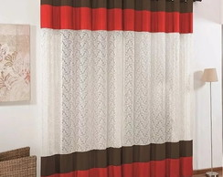 Cortina Dubai 3,00x2,50 com Renda -Red