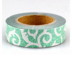 Washi Tape c/ Brilho Verde Tribal - 10m