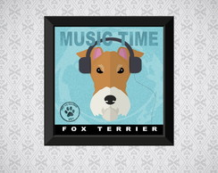 Quadro Music Time - Fox Terrier - 20x20cm