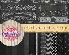 Kit Digital Papéis Chalkboard