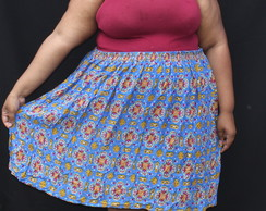 Saia estampada de viscose Plus size