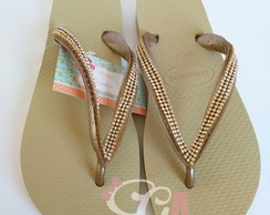 Chinelo Havaianas Top Customizado Manta de Strass