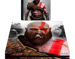 kit Skin adesivo ps4 pró God of war + 2 controles e 2 light