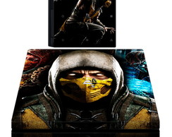 kit Skin adesivo ps4 pró mortal kombat 2 controles e 2 light