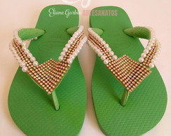 Havaianas Top Customizado c/ Pérolas e Strass