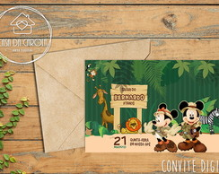 Convite DIGITAL Mickey e Minnie Safari CC11