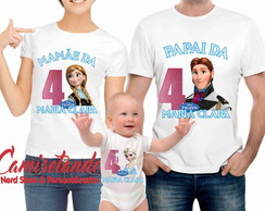 Kit 3 camisetas Aniversario Frozen