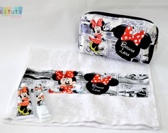 Kit Dental + necessaire + toalha Minnie