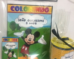 Kit revista e cofre personalizado Mickey e Minnie