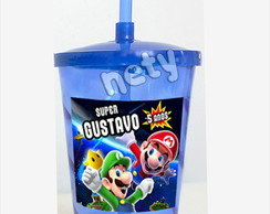 Copo shake twister Super Mario Bros e Luigi 700ml azul