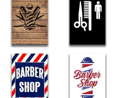 KIT 4 Placas Decorativas BARBEARIA