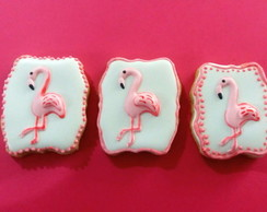 Biscoito decorado flamingos