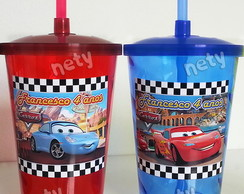 Kit 10 copos twister Carros McQuenn e Sally 700ml com canudo