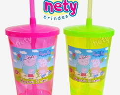 Kit 10 copos twister Peppa Pig personalizados 700ml canudo