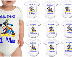 Kit Body Infantil 12 Meses Mickey Disney
