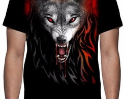 Camiseta Lobo Dark Wolves Face - Estampa Total