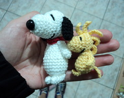 Mini Snoopy + Woodstock de crochê amigurumi