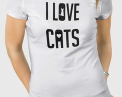 Camiseta I Love Cats- Masc Fem BW