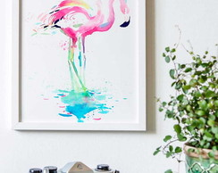 Poster Flamingos Water Color