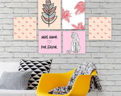 Plaquinha Placa Quadro MDF Kit Flamingo Gato Floral