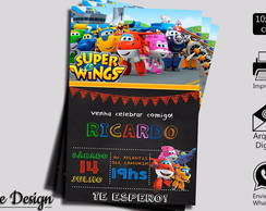 CONVITE DIGITAL SUPER WINGS ESTILO CHALKBOARD